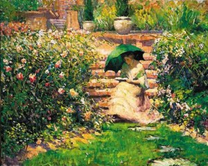 Woman Reading in a Garden