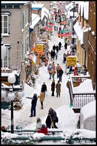 Rue du Petit-Champlain in Christmas time