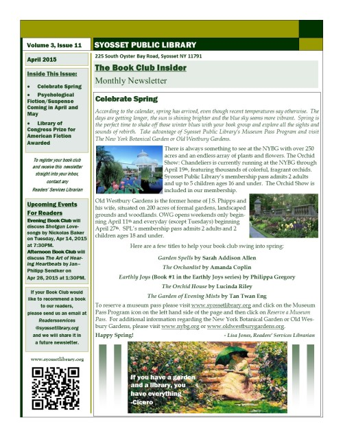 Newsletter vol 3 iss 11 apr 2015