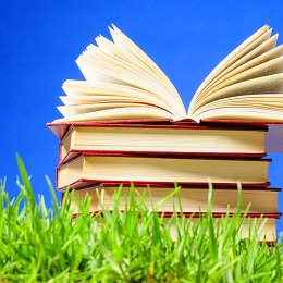 books on grass
